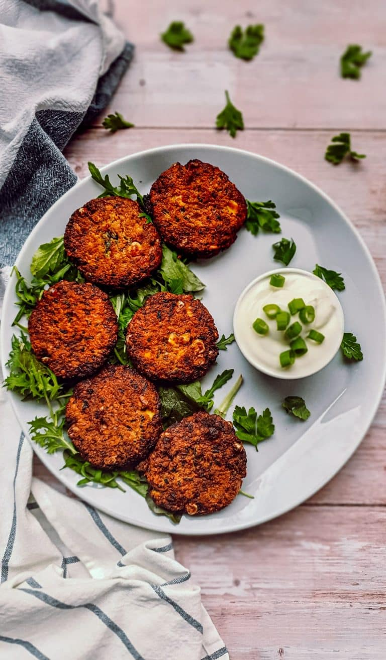 AIR FRIED ZUCCHINI FRITTERS WITH RED LENTILS